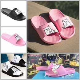 Wholesale Platform Flip Flops Men - 2017 Ripndip Lord Nermal Slide for Women men designer Beach Slip On Pink Black platform sandals House Slippers with originals Box 36-44