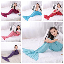 crochet bebé capullos Rebajas Mermaid Knit Blankets Mermaid Tail Crochet Sleeping Bags Tiburón bebé Fish Mantas Siesta Cocoon Mattress Kids Mermaid Sofa Air Mantas 3062