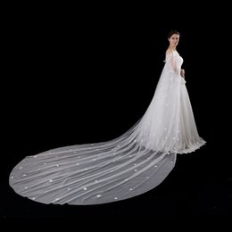 Wholesale Small Bridal Veils - 2017 Hot Sale White Ivory Lace Cloaks Mantle Wedding Jacket Long Floor Length Bridal Jacket 5 Meters Long Small Flowers Bridal Veils