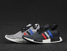 Wholesale Online Classics - 2017 high quality NMD Runner R1 Primeknit PK Tri-Color Red white blue Men Women Running Shoes Classic sports Sneakers Shoes Eur 36-44 online