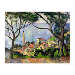 Wholesale hand painted oil painting reproductions - Paul Cezanne The Sea at L Estaque oil paintings reproduction canvas art hand-painted Home decor