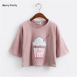 Wholesale Wholesale Korean Ice Cream - Wholesale-Merry Pretty 2017 summer new Harajuku women t shirt ice cream Korean style cotton loose crop tops kawaii t-shirt female tee tops