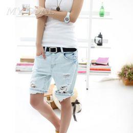 Wholesale Dog Jeans Pants - Wholesale- Women Jeans Shorts Fashion Dog Embroidery Pocket Ladies Jeans Vintage Trousers Women Hole Denim Short Pants Casual