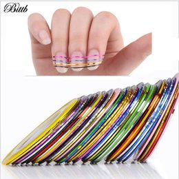Wholesale Tape Nail Art Designs - 30pcs Colors Nail Strips Best Nails Art Design Strips,New Manicure Nail Tape Strip Stickers Decal Beauty Tools Line Cheap
