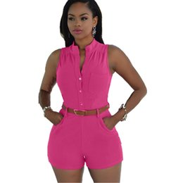 Wholesale Overalls China - Newly Fashion Women Rompers Cheap Clothes China Playsuit Short Pant Female Overalls Summer Brand Jumpsuit Casual Night Club Clothing