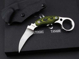 Wholesale Knife Japan - Japan Kazutoshi Tanabe Green Ghost Karambit D2 60HRC Tactical Camping Hunting Survival Pocket Knife Military Utility EDC Gift Knife