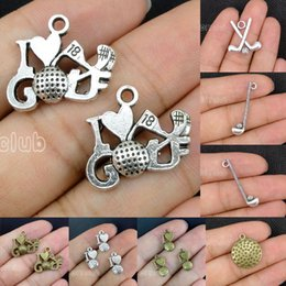 Wholesale Tibetan Charms Heart - 40pcs-Antique Tibetan Bronze Silver 2 Sided Golf Club Golf Ball I Heart Golf Charm Pendants sports Charm Connector Lovely DIY Jewelry Making