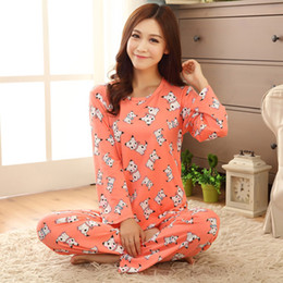 Wholesale Pajamas For Dogs - Wholesale- Lily New Autumn Winter 100 % High Quality Beer and Dog Full Cute Pyjamas Pajamas For Women Home Clothes 2 Piece Sleepwear