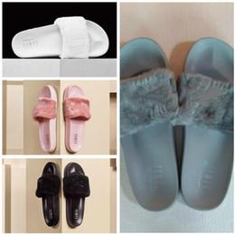 Wholesale Womens Warm Slippers - Rihanna Fur Leadcat Fenty Slides Slippers Women Men House Winter Slipper Home Shoes Woman Warm Slippers zapatillas de casa womens sandals