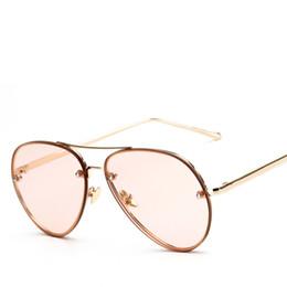 Billige gelbe sonnenbrille online-Peekaboo billige Mode Ozean Sonnenbrille getönte Linse gelb rosa Metallrahmen Sonnenbrille Frauen Männer UV400 Gafas de Sol