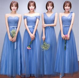 Wholesale Sheer Polka Dot Dress - Double Shoulder Simple Solid Color Pleat Chiffon Long Evening Dresses Party Elegant Vestido De Festa Long Prom Gown