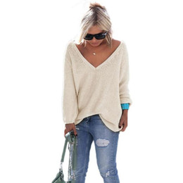 Wholesale Womens Orange Sweater - 2017 Womens Elegant V Neck Loose Casual Knit Sweater Pullover Fashion Long Sleeve Spring Autumn Sweater Tops sueter mujer