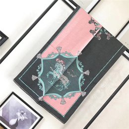 Wholesale French Letters - Top Qualtiy cashmere pashmina Euro Brand French designer scarf horse Pattern Printed Gift shawl women scarf free shipping