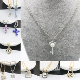 Wholesale Crown Necklace For Women Gold - Jmyy Jewelry 2017 New Fashion Necklace Cute Elephant Key Lock Heart Crown Necklaces & Pendants Leather Chain Alloy Chian For Women Necklace