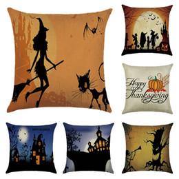 Caso della copertura del cuscino di Halloween felice Caso del cuscino della vita di retro strega gotica Vendo il caso di lino del cuscino di lino dell'annata quadrato da