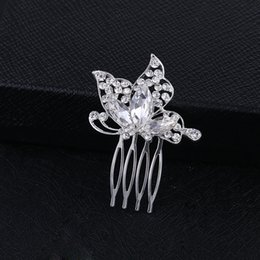 Wholesale Wedding Rhinestone Comb Wholesale - Sparkly Austrian Crystal Butterfly Wedding Hair Comb Tiara Handmade Silver Jewelry Bridal Metal Hair Comb Accessories for Women