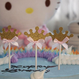Wholesale Wedding Card Themes - Wholesale- 10Pcs set Crown Princess Theme Wedding Birthday Party Cake Decorated With Flags Card Insert Card Dessert Table Decorative Card