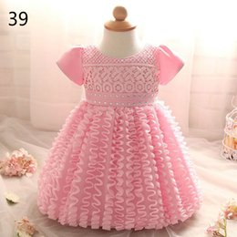 Wholesale Yellow Colour Flower Girl Dresses - Baby Girls Christening Gown Lace Flower Bow Princess Ball Gown First Birthday Party Dresses Kids Clothes 0-2Y RC00301F