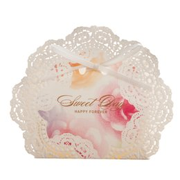 Wholesale Lace Wedding Favor Boxes - Wedding Favor Boxes Candy Gift Favors White Lace Laser Cut with Pink Color and Bowknot Wholesale Dropship
