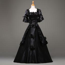 vestido negro victoriano corto Rebajas 2016 gótico manera de la manga corta Negro vestido falda de estilo victoriano vestido de vestuario personalizada