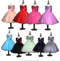 Wholesale Retail Girls Dress Watermelon - Princess Sequins Tutu Flower Dress Girls Holiday Birthday Party Dress Western Candy Color Retail By Kebaner