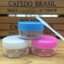 Wholesale Empty Powder Containers - 10 PCS 10 gram Cream Jar Empty Plastic Cosmetic Container clear jar Small Sample Makeup nail powder case with Mask spoon