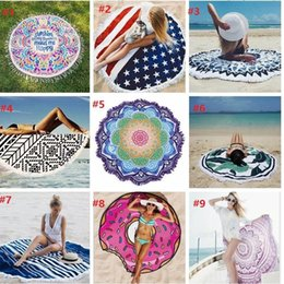 Wholesale Table Cloth Tassel - 18 styles Round Mandala Beach Towel Tassel Fringing Beach Throw Round yoga Mat Table Cloth Wall Tapestries High quality