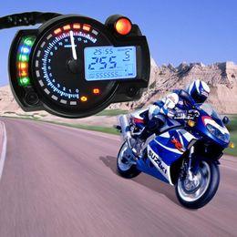 Wholesale Universal Digital Speedometer - Blue Universal Motorcycle Motorbike LCD Digital Speedometer Odometer Tachometer MOT_30H