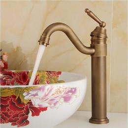 Wholesale Antique Copper Bathroom Faucets - Antique Brass Retro Bathroom Basin Sink Mixer Taps Deck Mounted Single Holder Swivel Spout Faucet Copper basin faucet