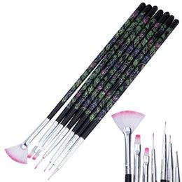 Wholesale Patterned Acrylic Nail Tips - Wholesale- 7Pcs set Nail Art Painting Drawing Dotting Pen Kit Flower Pattern Handle Acrylic Gel Polish Tips 3D DIY Design Manicure Brushes