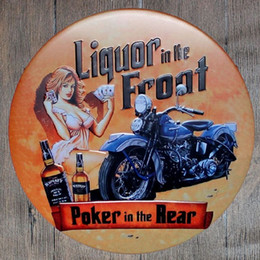 Wholesale Poker Decorations - Liquor in the Front Poker in the Rear Round Retro Embossed Tin Sign Poster Wall Bar Restaurant Garage Pub Coffee Home Decor Christmas Gift