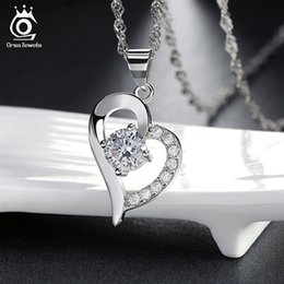 Wholesale Heart Link 925 Necklace - Beautiful Heart Necklace,Precious Austria Crytal SWA Elements,925 Sterling Silver on 3 Layer Platinum Plating ON19