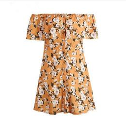 Wholesale Dresses Empire Waist Short - Floral print ruffles off shoulder short dress A-line high waist button mini dress Summer beach bohemian causal sun dress vestidos 2017 new