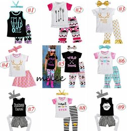 Wholesale Baby Girls Tshirts - Summer ins Girls Arrow 3pc set 2pc set outfits girls Short Sleeve tshirts Printed Pants floral headband baby ins Letters clothing wholesale