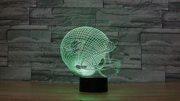 Wholesale Led Gadget Halloween - Free Shipping 3D Optical Illusion Lamp Dolphins football helmet Night lights Multicolored LED Creative Gadget Kida Kiddie Gift