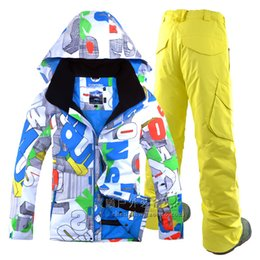 Wholesale Skating Clothes - GSOU SNOW New Winter South Korea outdoor waterproof windproof thick warm Cotton Mens Suit Ski Snowboard clothing men's double plate