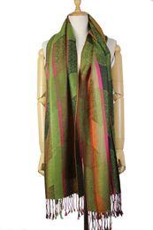 Wholesale jacquard silk scarves wholesale - No brand OEM Women's jacquard silk cashmere blended paisley pashmina scarves scarf 10colors mixed drop shipping