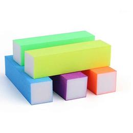 Wholesale Sponge Buffer Sanding Block - 100Pcs Professional Colorful Nail File Buffer Polishing Block Sanding Nail Art Manicure Sponge Setback Nail Art Salon Tools