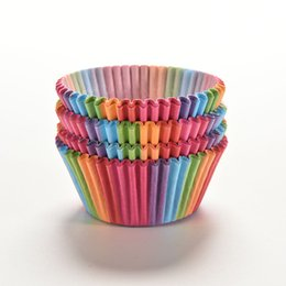 Wholesale Decorated Boxes - Rainbow color 100 pcs cupcake liner baking cup cupcake paper muffin cases Cake box Cup tray cake mold decorating tools