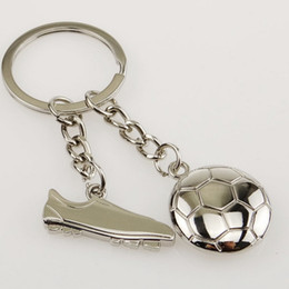 Wholesale Wholesale Football Key Chain - Olympic Games Football and Soccer Shoes Key Chain Alloy Keychain Key Ring Wedding Favors Baby Shower Party gift + DHL free shipping