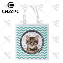 Wholesale Custom Printed Glasses - Wholesale- Cute Cat black glasses white dot Aquamarine Chevron Print Custom individual lightweight polyester fabric Reusable Bag gift bag