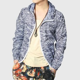 Wholesale Zebra Print Jackets - Wholesale- Striped Men Spring Jacket Hooded America Zebra Stripe Print Thin Coats Slim Black Long Sleeve Spring Korean College
