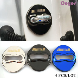 Wholesale Accessories Art - Door lock Cover Car-Styling Car Emblem Stainless Steel Case For Mitsubishi Lancer 10 RalliArt Ralli Art Accessories Car Styling