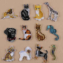 Wholesale Wholesale Horse Stickers - Iron On Patches DIY Embroidered Patch sticker For Clothing clothes Fabric Badges Sewing sea horse dog cat design