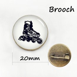 Wholesale Wholesale Figure Skating Gifts - Classic Collection ice hockey brooches pins Antique bronze plated Skating sports silhouette men women badge jewelry