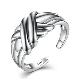 Wholesale knots men women - 100% Genuine 925 Sterling Silver Finger Ring Women Men Cross Braided Knot Stackable Adjustable Rings Fine Jewelry VSR002