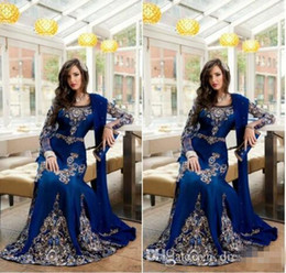 Wholesale Blue Dresses Petals - 2016 New Royal Blue Luxury Crystal Muslim Arabic Evening Dresses With Applique Lace Abaya Dubai Kaftan Long Plus Size Formal Evening Gowns