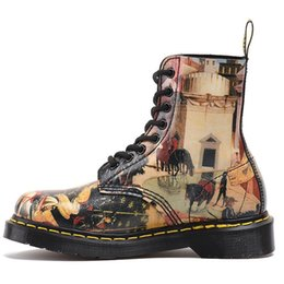 Wholesale male ankle boots - High Quality women male painting printing genuine Leather martin boots size 36-45