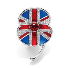Wholesale uk pins - 1.45 Inch White Gold Tone Rhinestone Crystal British UK Flag Poppy Union Jack Brooch Remembrance Day Pins