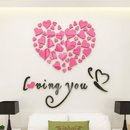 Wholesale Design Home Switch - Romantic style Wall Decals DIY Mirror Combination Personalised Wall Stickers Acrylic Material Home Bedroom Wall Stickers